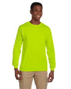 Safety Green Ultra Cotton® 6 oz. Long-Sleeve Pocket T-Shirt