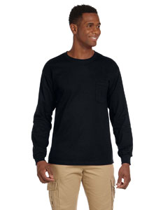 Black Ultra Cotton® 6 oz. Long-Sleeve Pocket T-Shirt