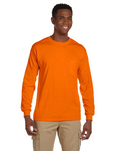 Safety Orange Ultra Cotton® 6 oz. Long-Sleeve Pocket T-Shirt