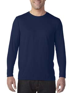Marbled Navy Adult Tech Long-Sleeve T-Shirt