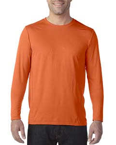 Marbled Orange Adult Tech Long-Sleeve T-Shirt