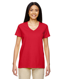 Red Heavy Cotton™ Ladies' 5.3 oz. V-Neck T-Shirt