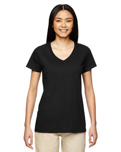 Black Heavy Cotton™ Ladies' 5.3 oz. V-Neck T-Shirt
