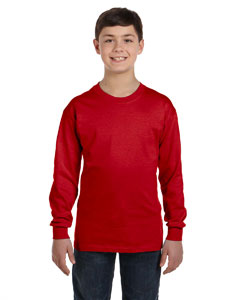 Red Heavy Cotton™ Youth 5.3 oz. Long-Sleeve T-Shirt