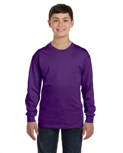 Purple Heavy Cotton™ Youth 5.3 oz. Long-Sleeve T-Shirt