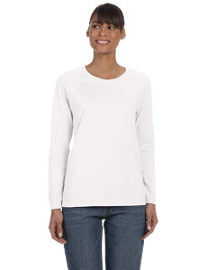 White Women's 5.3 oz. Heavy Cotton Missy Fit Long-Sleeve T-Shirt
