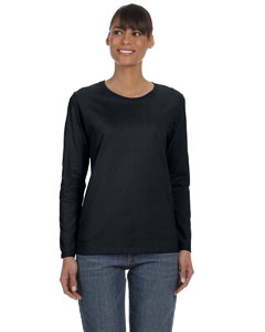 Black Women's 5.3 oz. Heavy Cotton Missy Fit Long-Sleeve T-Shirt