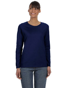 Navy Women's 5.3 oz. Heavy Cotton Missy Fit Long-Sleeve T-Shirt