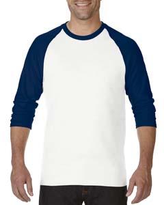 White/navy Heavy Cotton ¾-Sleeve Raglan