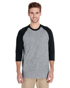 Sport Grey/black Heavy Cotton ¾-Sleeve Raglan