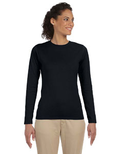 Black Women's 4.5 oz. SoftStyle Junior Fit Long-Sleeve T-Shirt