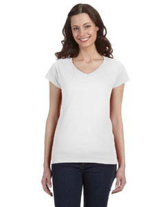 White Women's 4.5 oz. SoftStyle® Junior Fit V-Neck T-Shirt