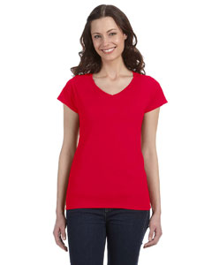 Cherry Red Women's 4.5 oz. SoftStyle Junior Fit V-Neck T-Shirt