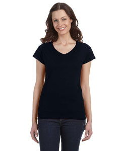 Black Women's 4.5 oz. SoftStyle Junior Fit V-Neck T-Shirt