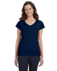 Navy Women's 4.5 oz. SoftStyle Junior Fit V-Neck T-Shirt