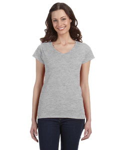 Sport Grey Women's 4.5 oz. SoftStyle Junior Fit V-Neck T-Shirt