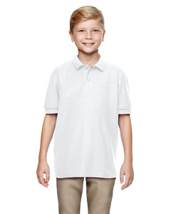 White DryBlend® Youth 6.3 oz. Double Piqué Sport Shirt