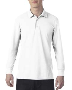 White Dryblend Double Pique Long-Sleeve Polo