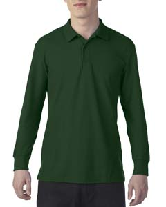 Forest Green Dryblend Double Pique Long-Sleeve Polo