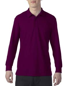 Maroon Dryblend Double Pique Long-Sleeve Polo