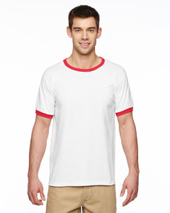 White/red DryBlend® 5.6 oz. Ringer T-Shirt