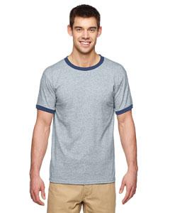 Sport Grey/navy DryBlend® 5.6 oz. Ringer T-Shirt