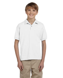 White DryBlend® Youth 5.6 oz., 50/50 Jersey Polo