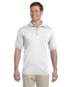 White DryBlend™ 6 oz., 50/50 Jersey Polo with Pocket