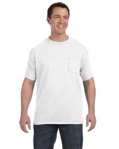 White 6.1 oz. Tagless® ComfortSoft® Pocket T-Shirt