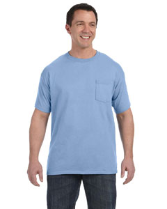Light Blue 6.1 oz. Tagless® ComfortSoft® Pocket T-Shirt