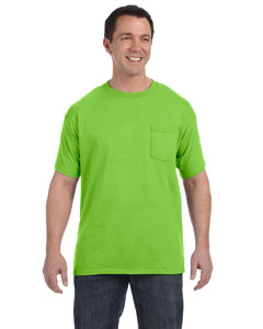Lime 6.1 oz. Tagless® ComfortSoft® Pocket T-Shirt