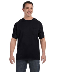 Black 6.1 oz. Tagless® ComfortSoft® Pocket T-Shirt
