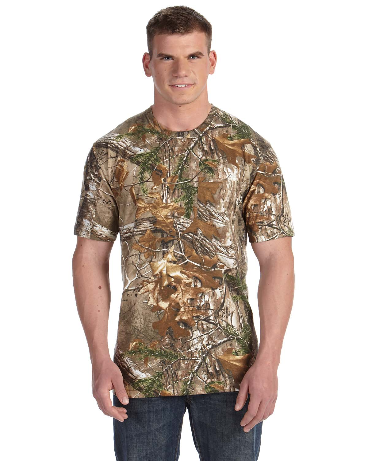 Code v 3982 realtree camouflage pocket t shirt shirtmax for Gildan camouflage t shirts