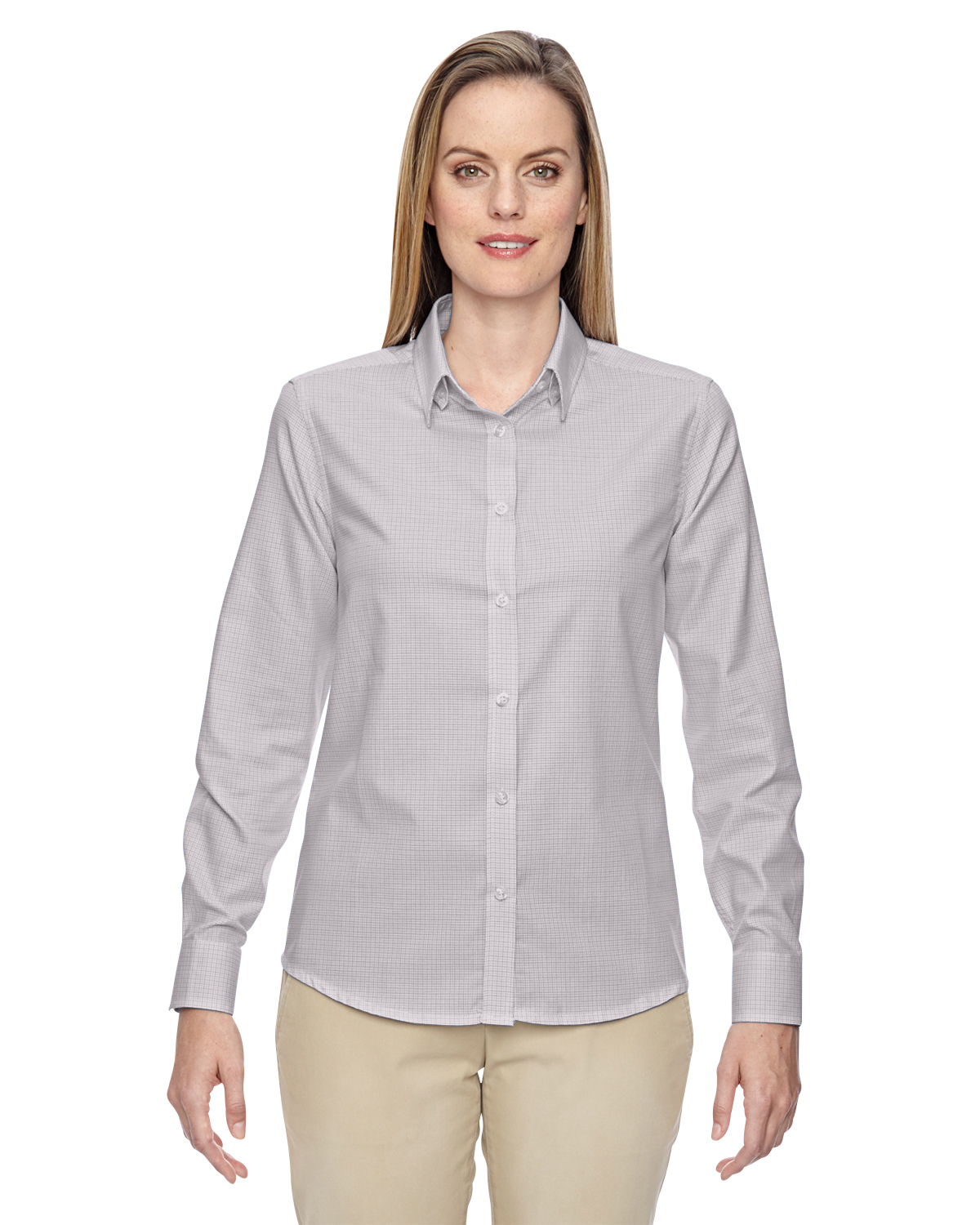 North end 77043 ladies twill checkered shirt shirtmax for Wrinkle resistant dress shirts