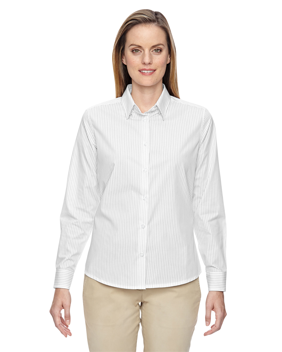 North end 77044 ladies cotton striped shirt shirtmax for Wrinkle resistant dress shirts
