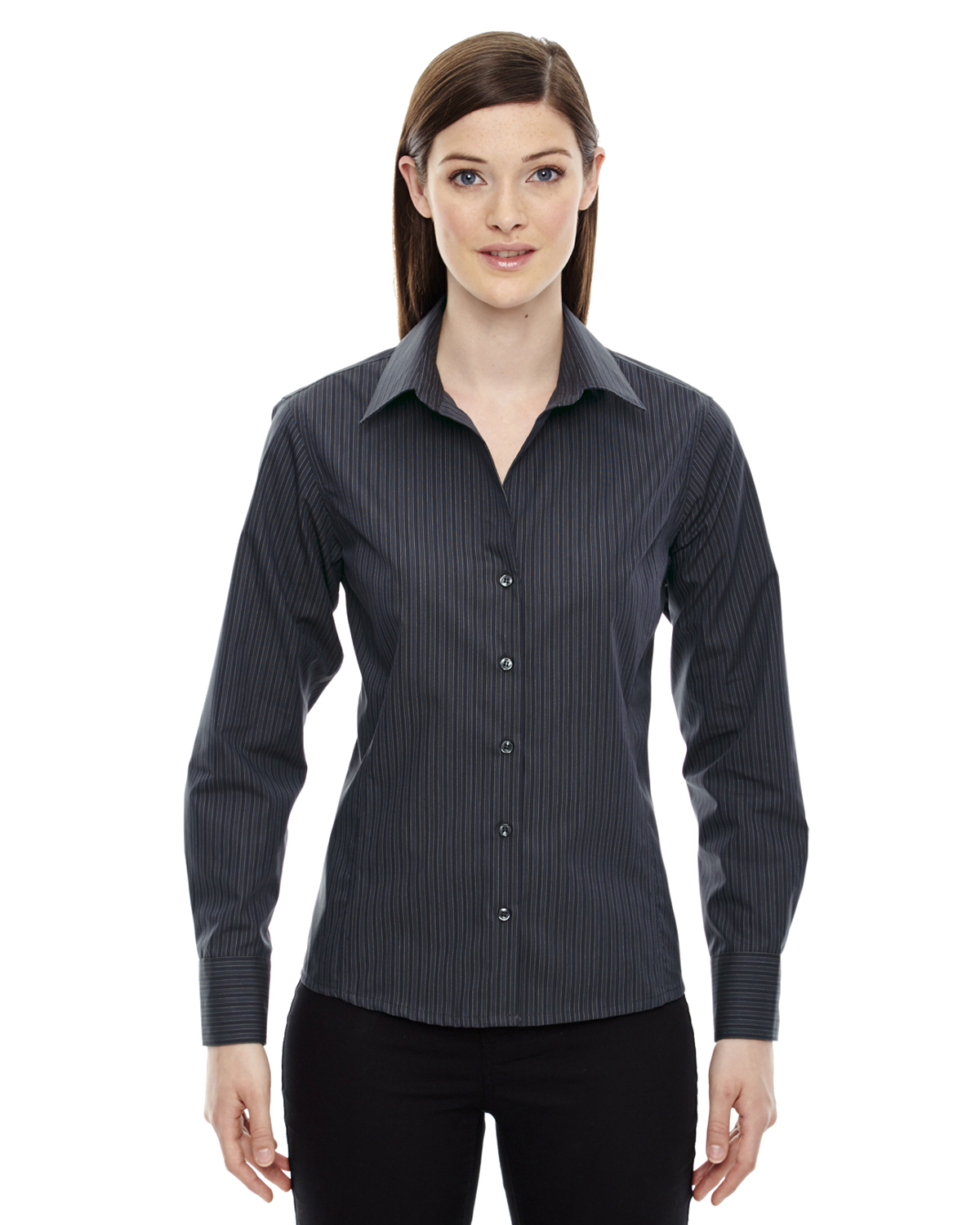 North end sport blue 78674 ladies striped shirt shirtmax for Wrinkle free shirts for women