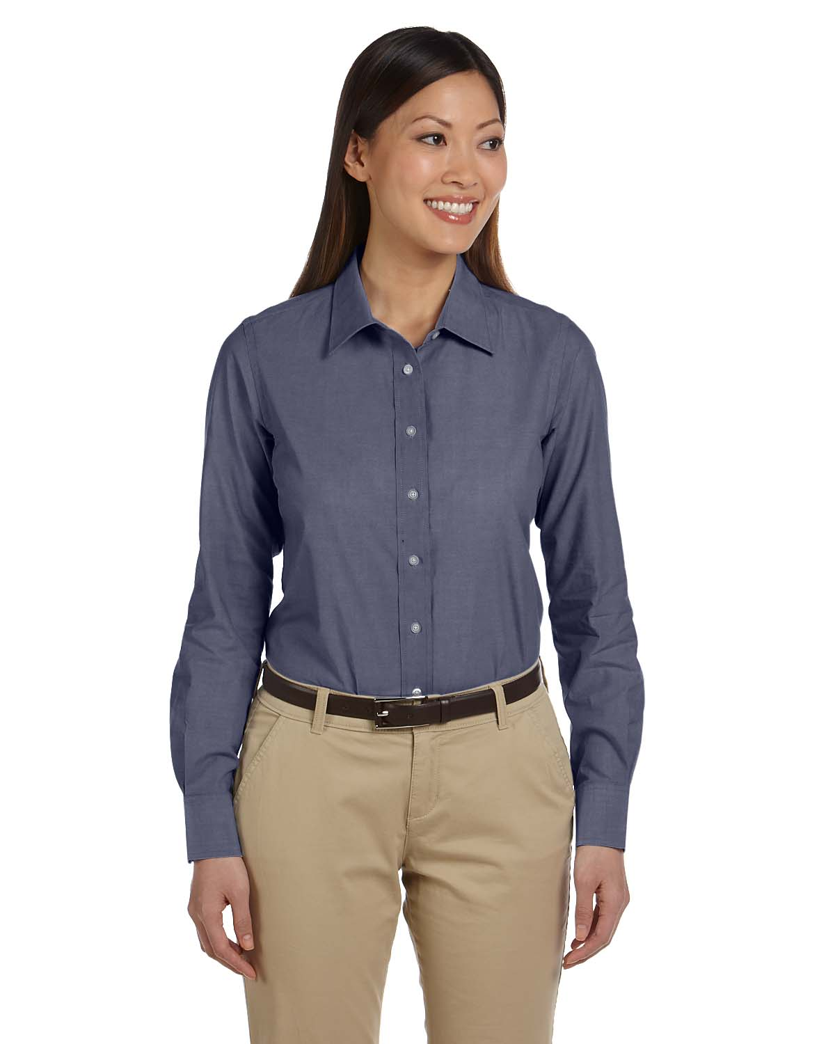 Harriton m555w women 39 s chambray shirt shirtmax for Chambray shirt women