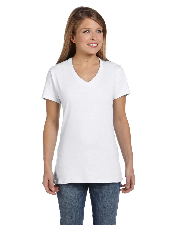 Hanes so4v women 39 s ringspun v neck t shirt shirtmax for Womens v neck t shirts
