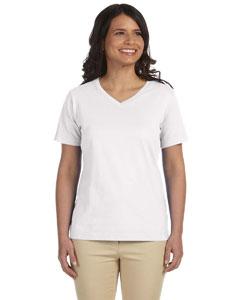 White Women's Combed Ringspun Jersey V-Neck T-Shirt