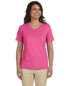 Raspberry Women's Combed Ringspun Jersey V-Neck T-Shirt