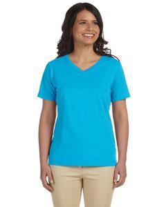 Aqua Women's Combed Ringspun Jersey V-Neck T-Shirt