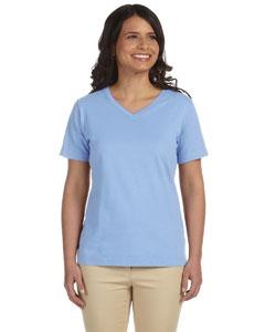 Light Blue Women's Combed Ringspun Jersey V-Neck T-Shirt