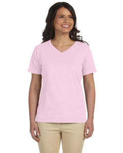 Pink Women's Combed Ringspun Jersey V-Neck T-Shirt