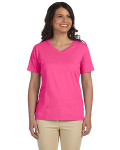 Hot Pink Women's Combed Ringspun Jersey V-Neck T-Shirt