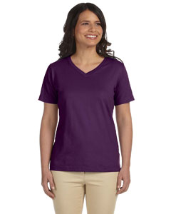 Eggplant Women's Combed Ringspun Jersey V-Neck T-Shirt