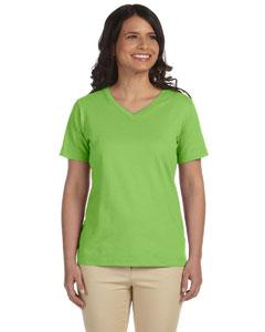 Key Lime Women's Combed Ringspun Jersey V-Neck T-Shirt