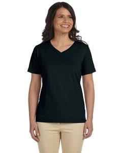Black Women's Combed Ringspun Jersey V-Neck T-Shirt