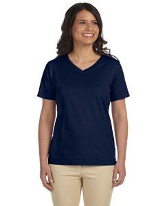 Navy Women's Combed Ringspun Jersey V-Neck T-Shirt