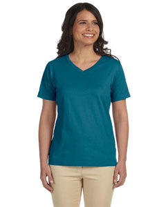 Teal Women's Combed Ringspun Jersey V-Neck T-Shirt