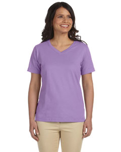 Lavender Women's Combed Ringspun Jersey V-Neck T-Shirt